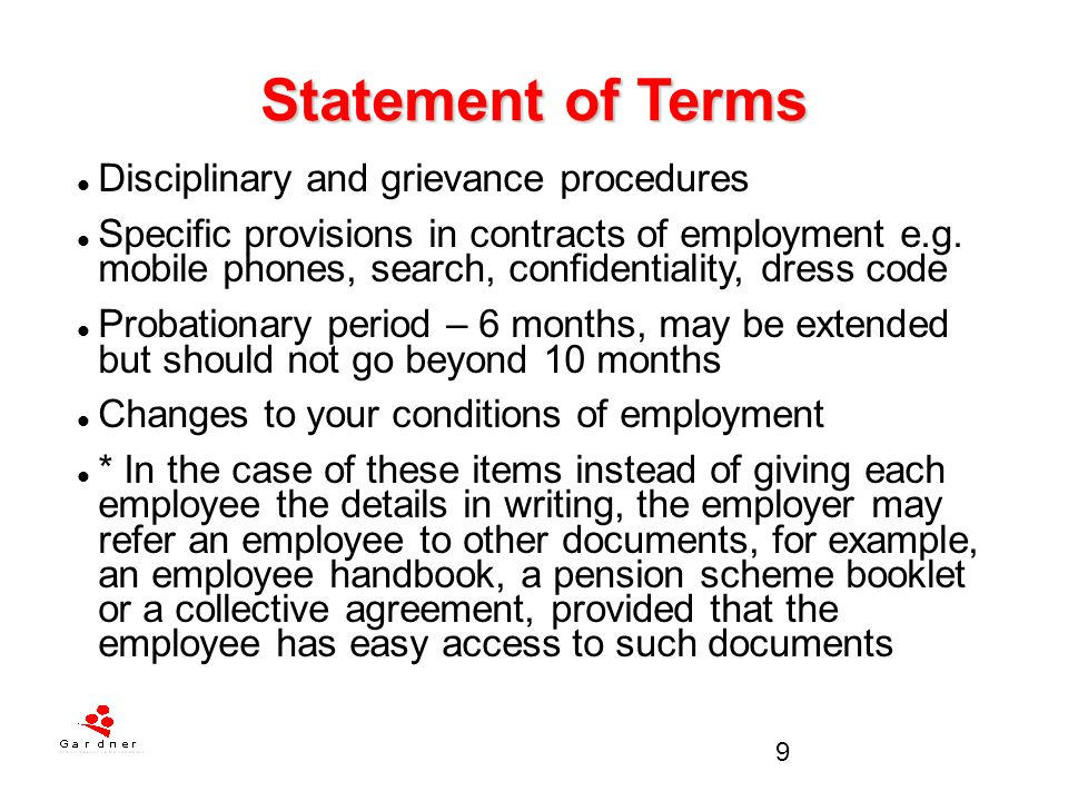 Statement of Terms Disciplinary and grievance procedures