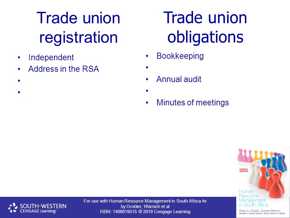 Trade union registration Trade union obligations