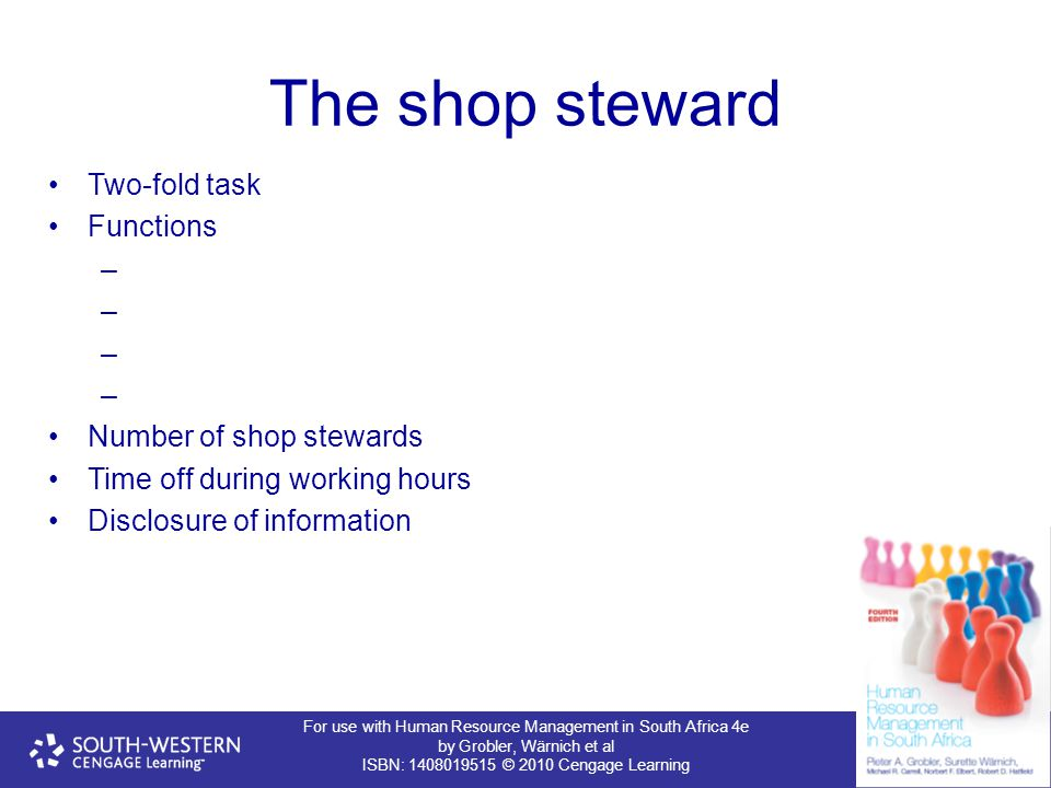 The shop steward Two-fold task Functions Number of shop stewards