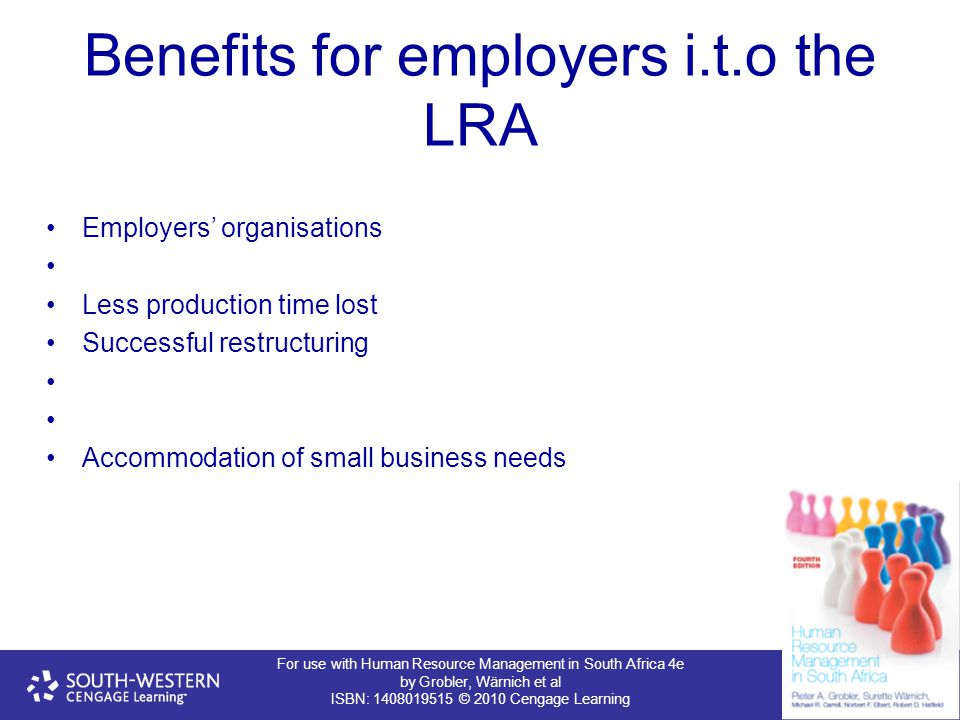 Benefits for employers i.t.o the LRA