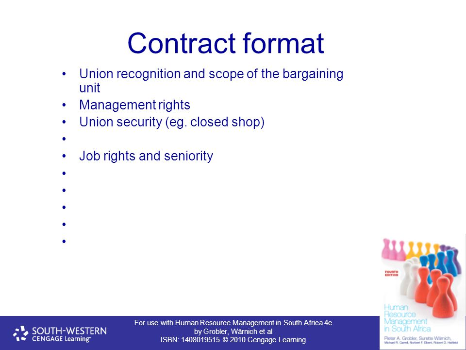 Contract format Union recognition and scope of the bargaining unit