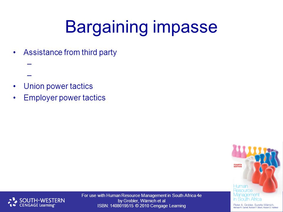 Bargaining impasse Assistance from third party Union power tactics