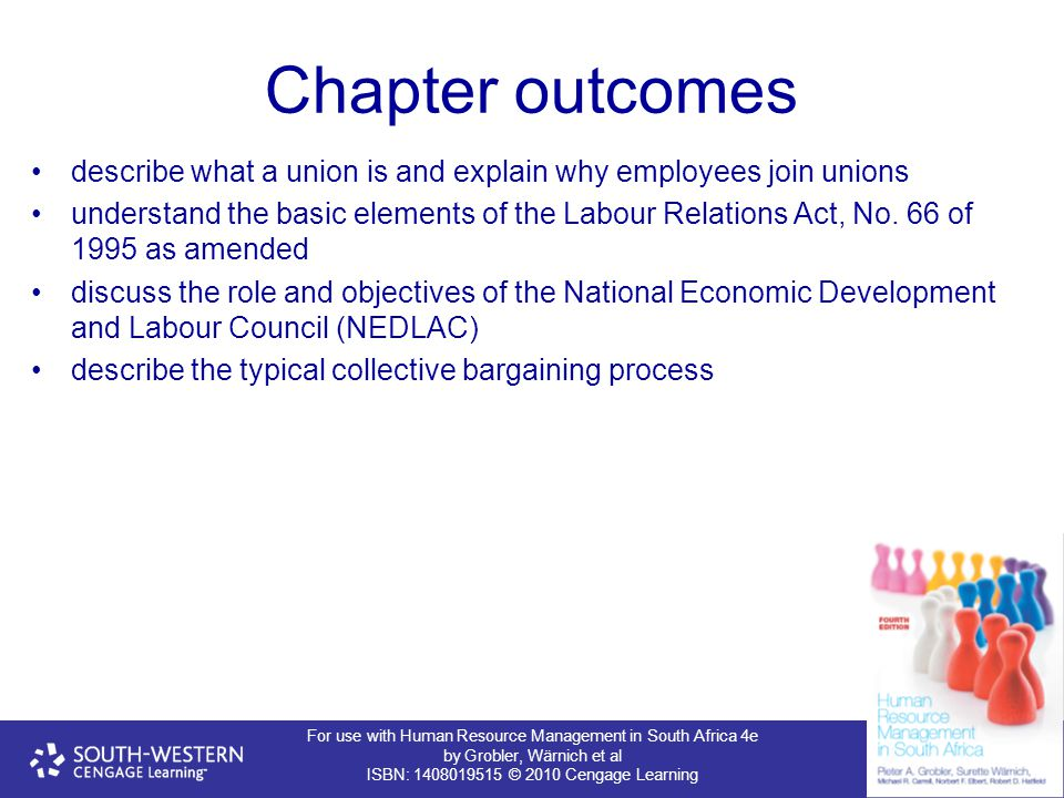 Chapter outcomes describe what a union is and explain why employees join unions.