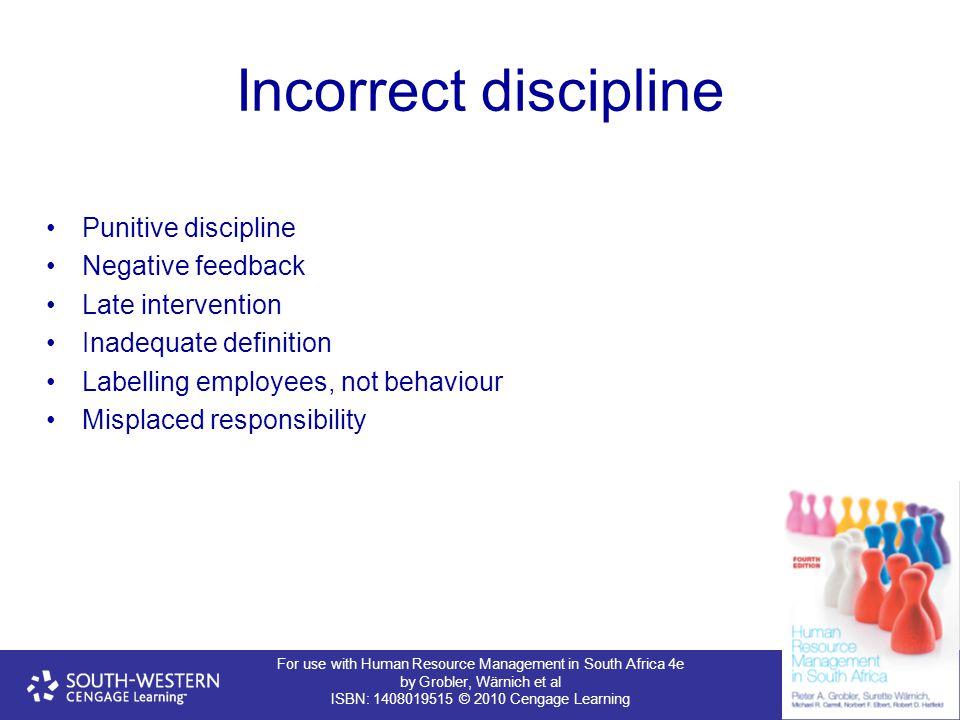 Incorrect discipline Punitive discipline Negative feedback