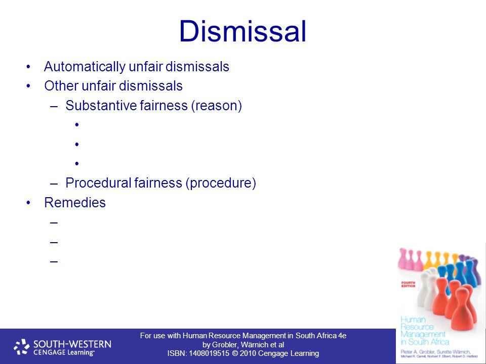 Dismissal Automatically unfair dismissals Other unfair dismissals