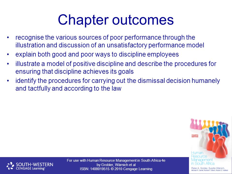 Chapter outcomes recognise the various sources of poor performance through the illustration and discussion of an unsatisfactory performance model.