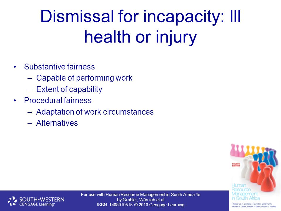 Dismissal for incapacity: Ill health or injury
