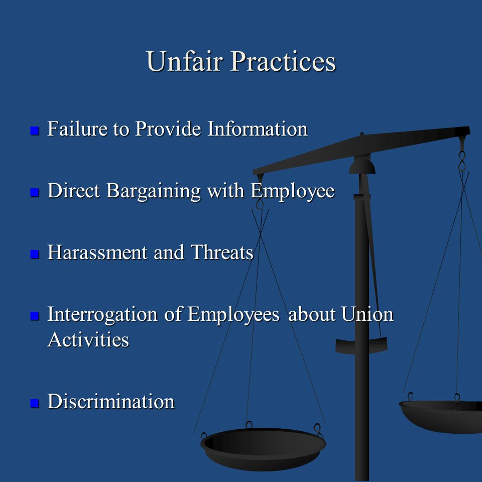 Unfair Practices Failure to Provide Information