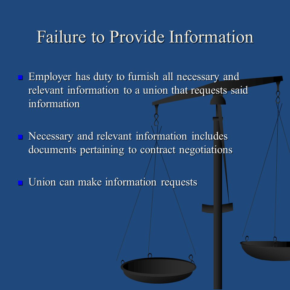Failure to Provide Information