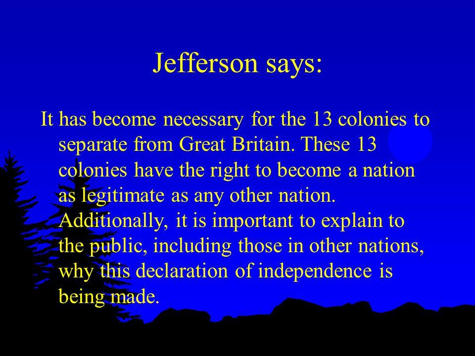 Jefferson says: