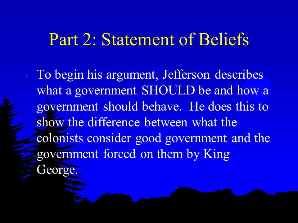 Part 2: Statement of Beliefs