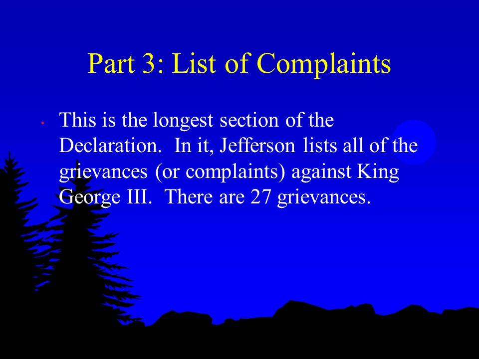 Part 3: List of Complaints