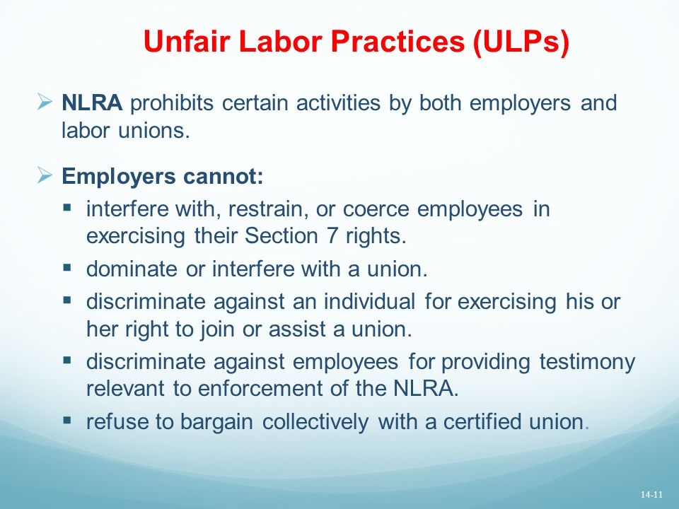 Unfair Labor Practices (ULPs)