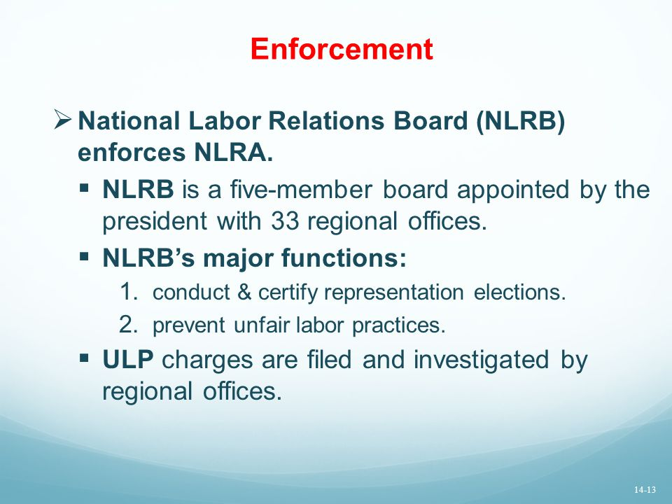 Enforcement National Labor Relations Board (NLRB) enforces NLRA.