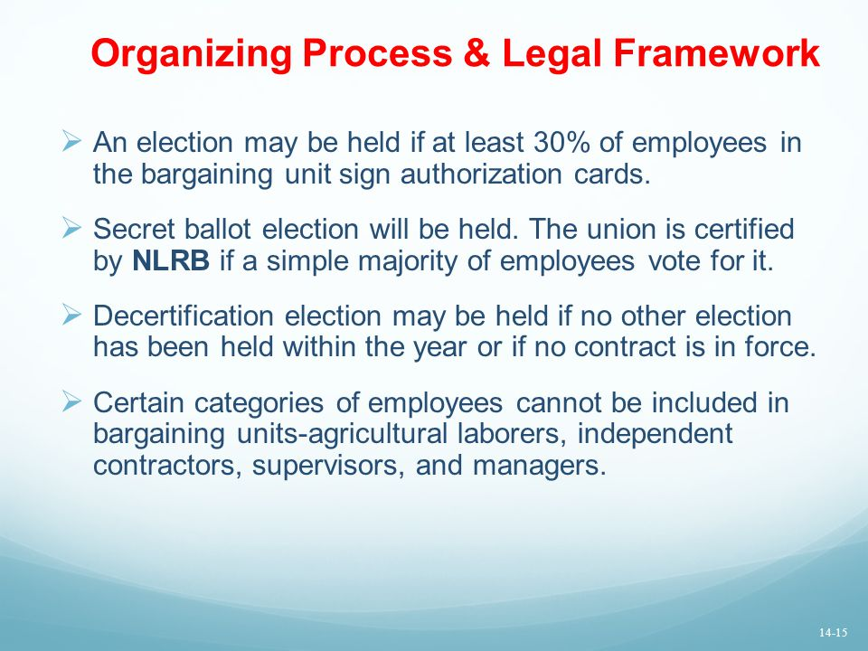 Organizing Process & Legal Framework