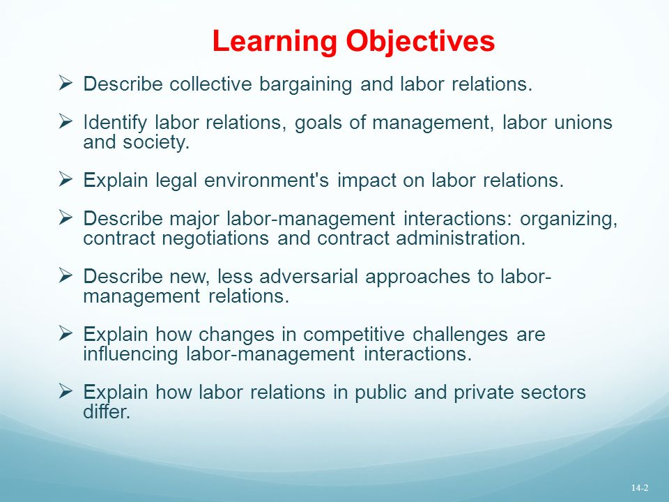 Learning Objectives Describe collective bargaining and labor relations. Identify labor relations, goals of management, labor unions and society.