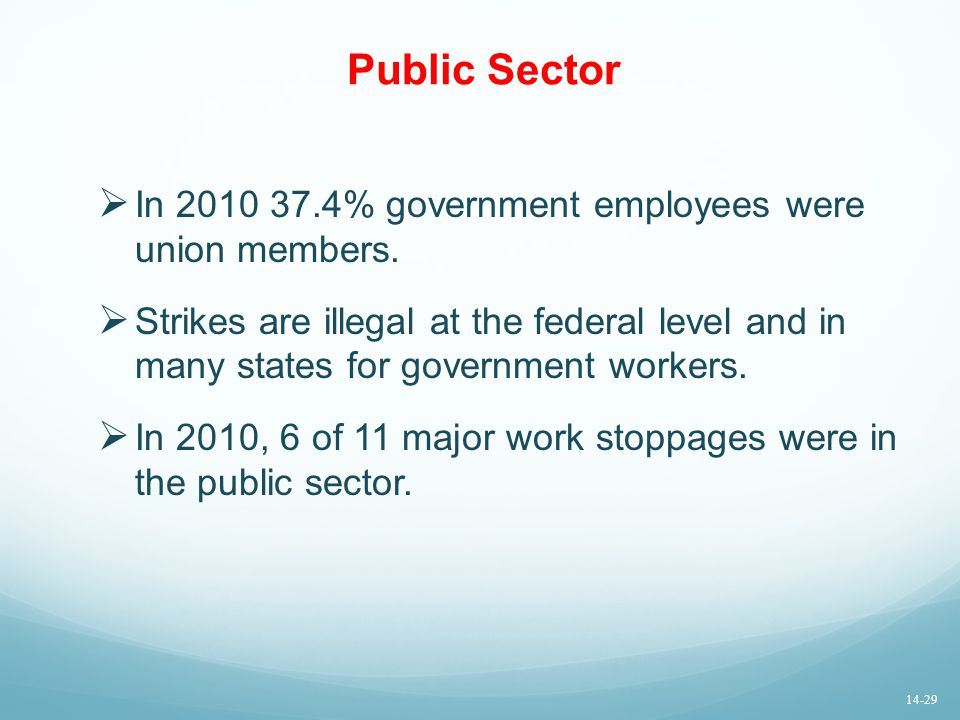 Public Sector In 2010 37.4% government employees were union members.