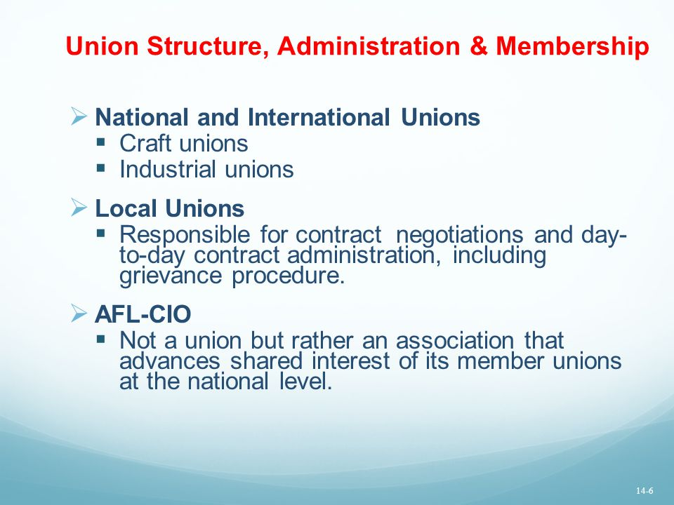 Union Structure, Administration & Membership