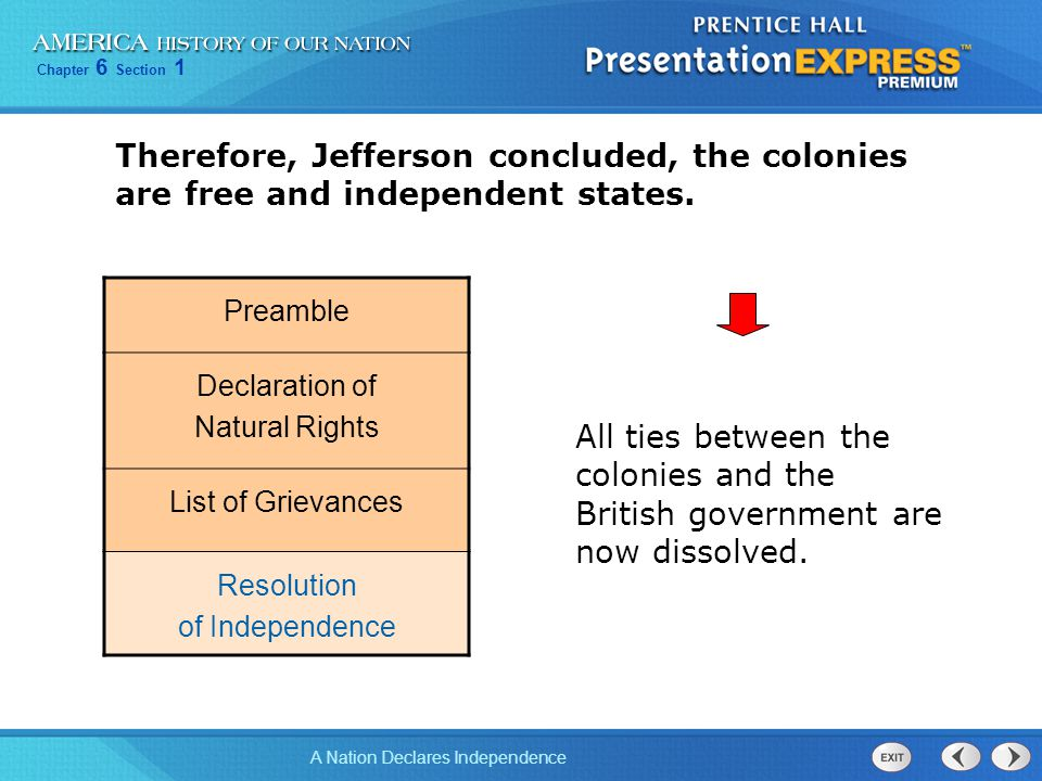 Therefore, Jefferson concluded, the colonies are free and independent states.
