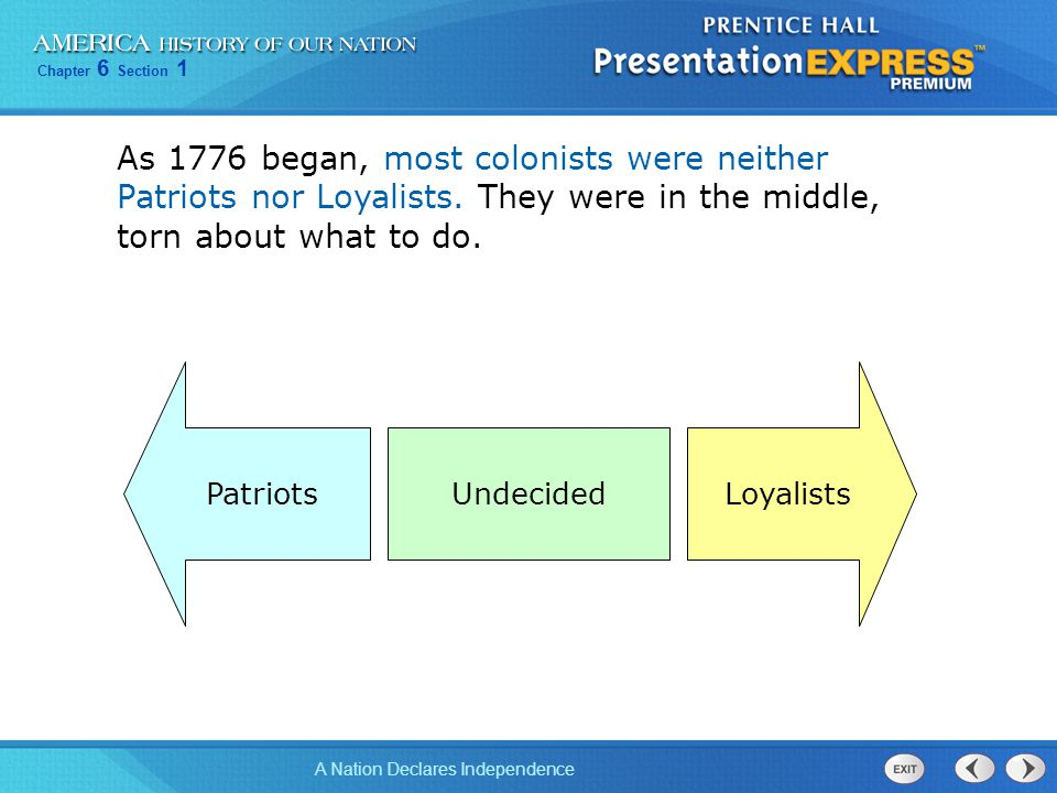 As 1776 began, most colonists were neither Patriots nor Loyalists