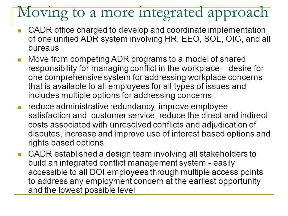 Moving to a more integrated approach