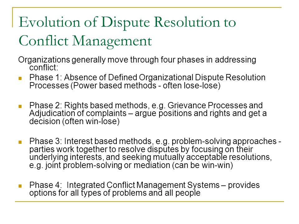 Evolution of Dispute Resolution to Conflict Management