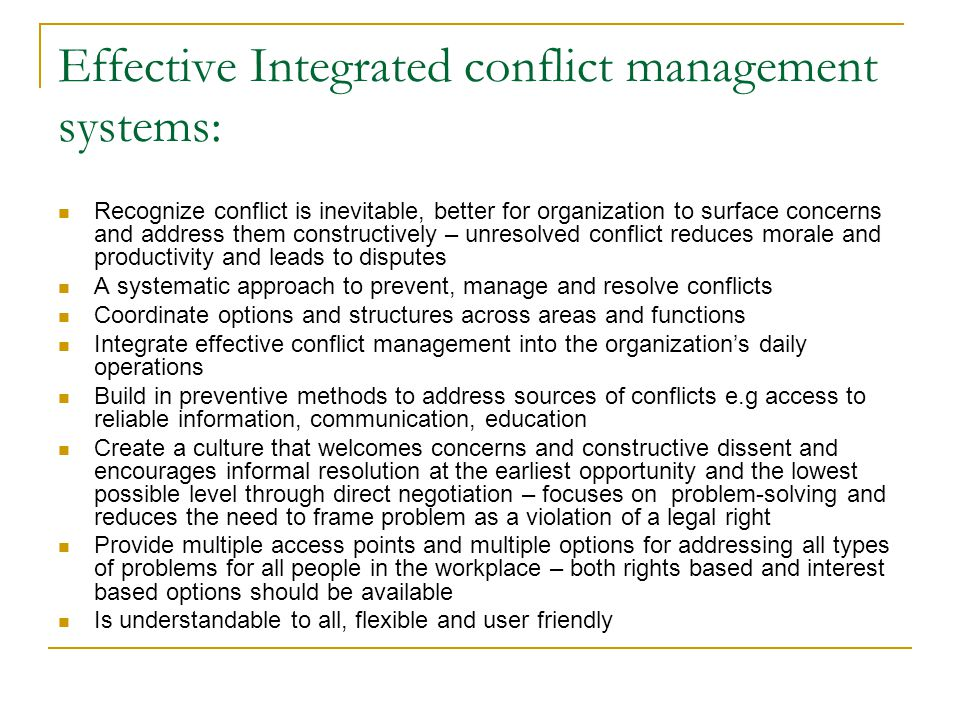 Effective Integrated conflict management systems: