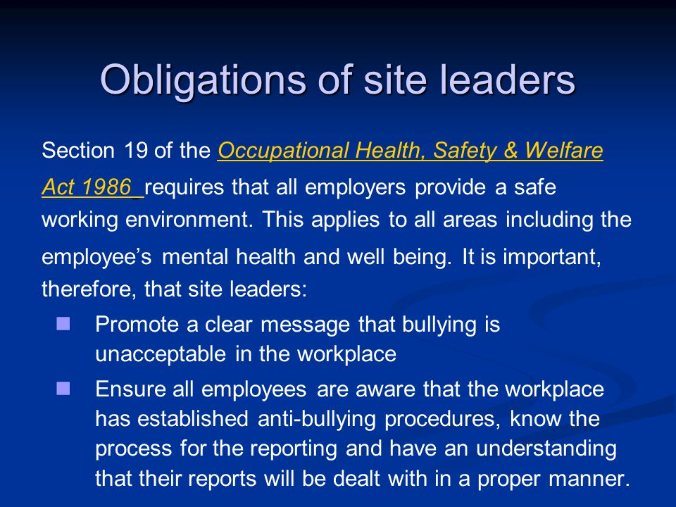 Obligations of site leaders