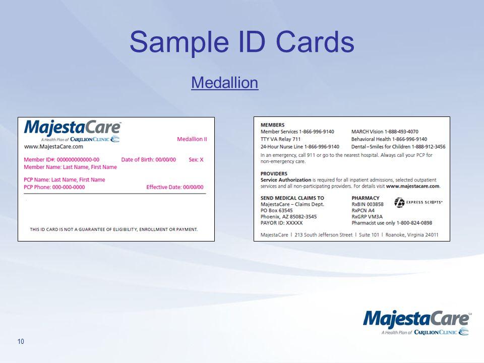 Sample ID Cards Medallion