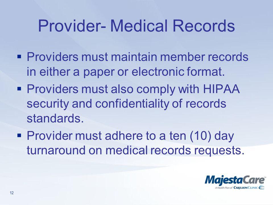 Provider- Medical Records