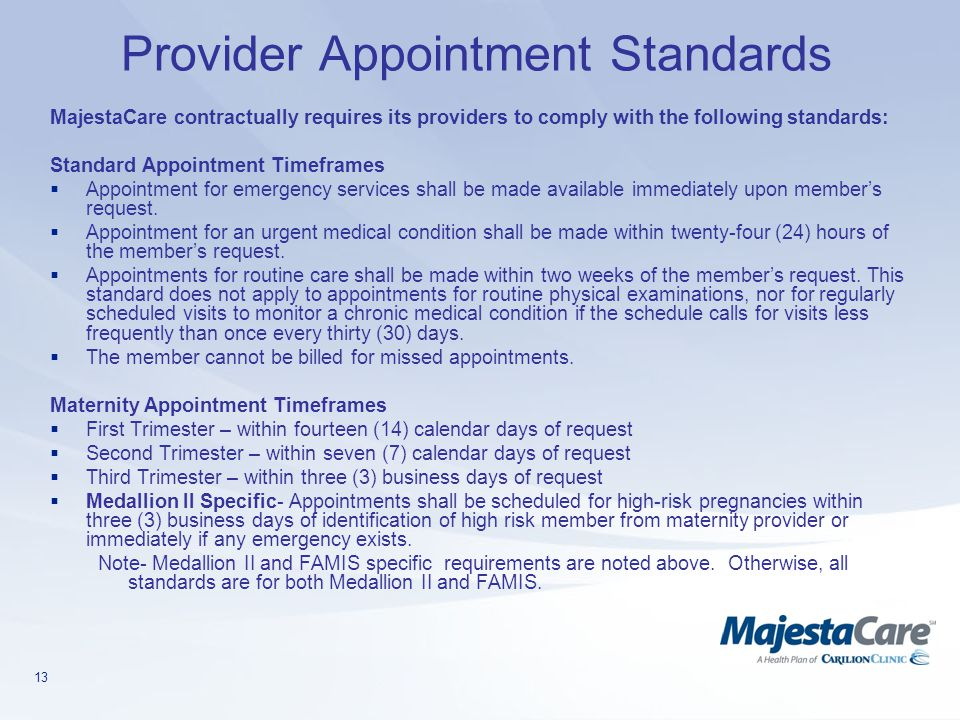 Provider Appointment Standards