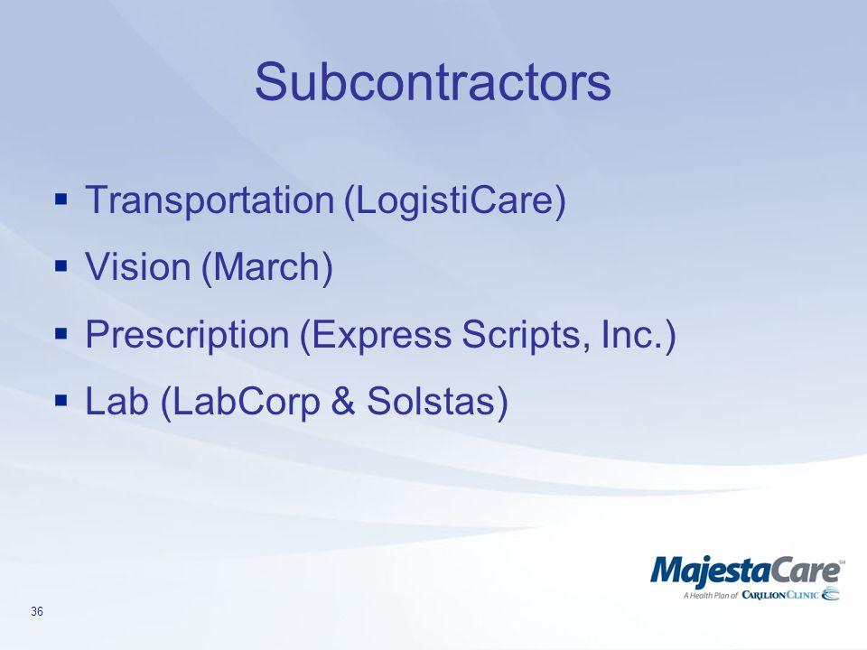 Subcontractors Transportation (LogistiCare) Vision (March)