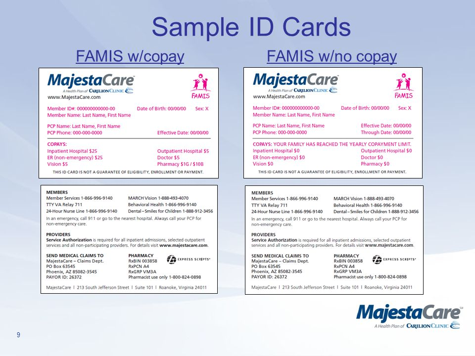 Sample ID Cards FAMIS w/copay FAMIS w/no copay