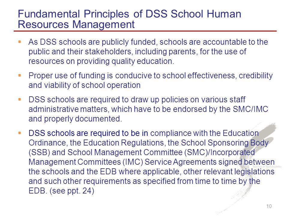 Fundamental Principles of DSS School Human Resources Management
