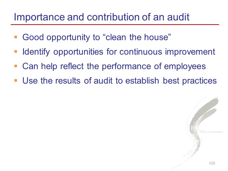 Importance and contribution of an audit