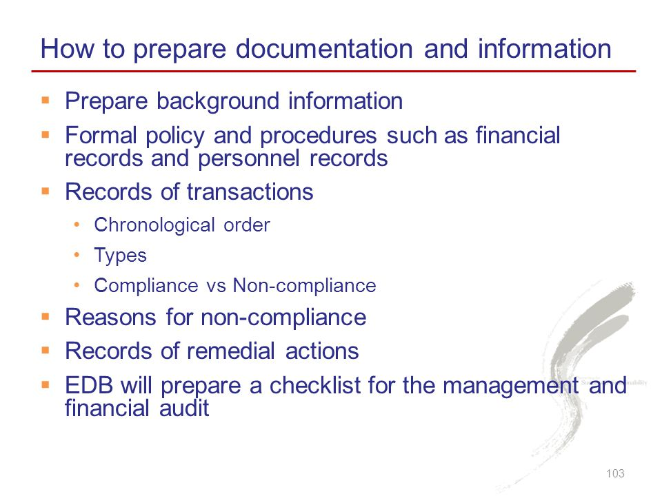 How to prepare documentation and information