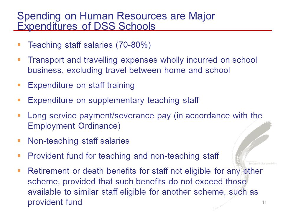 Spending on Human Resources are Major Expenditures of DSS Schools