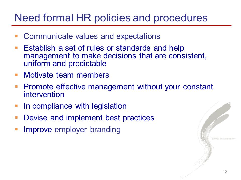 Need formal HR policies and procedures