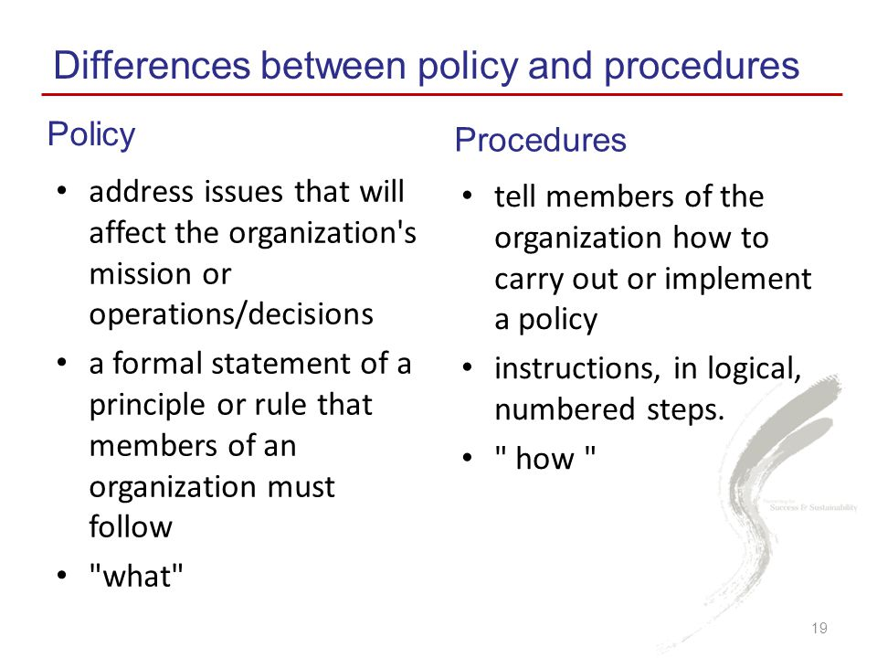 Differences between policy and procedures