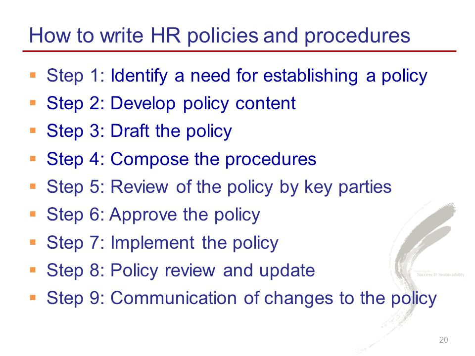 How to write HR policies and procedures
