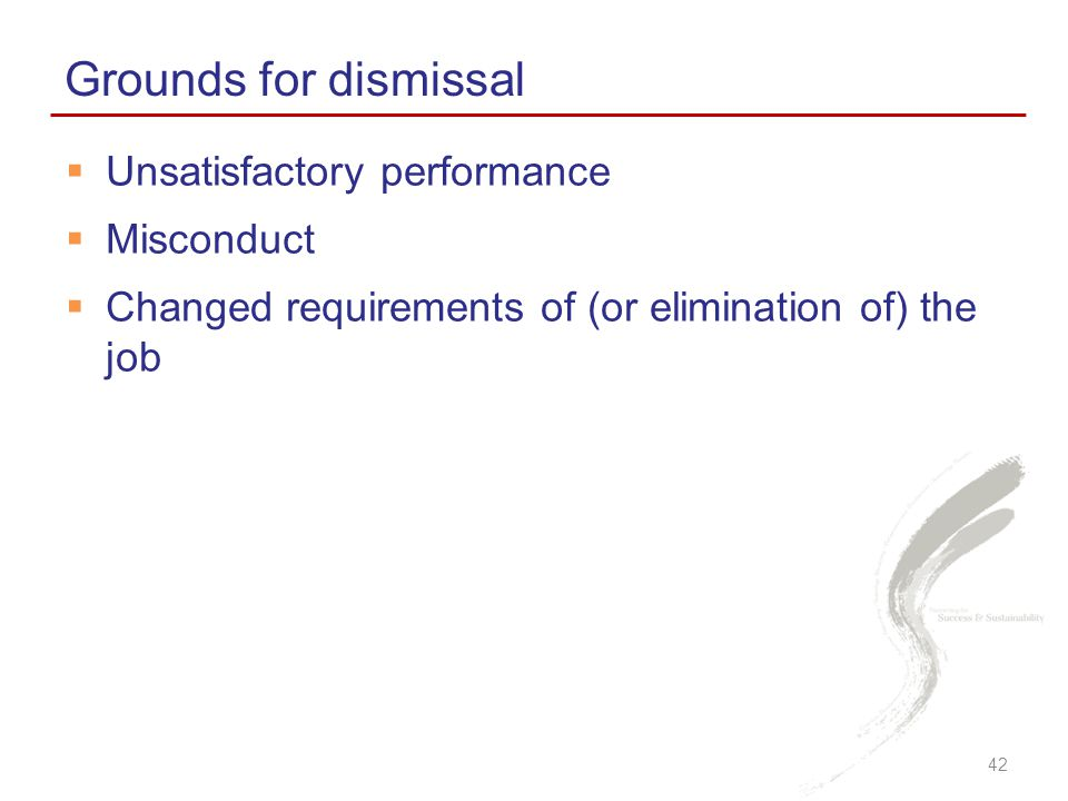 Grounds for dismissal Unsatisfactory performance Misconduct
