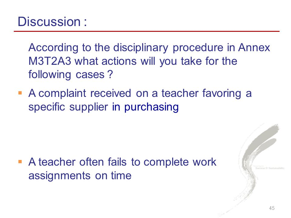 Discussion : According to the disciplinary procedure in Annex M3T2A3 what actions will you take for the following cases?