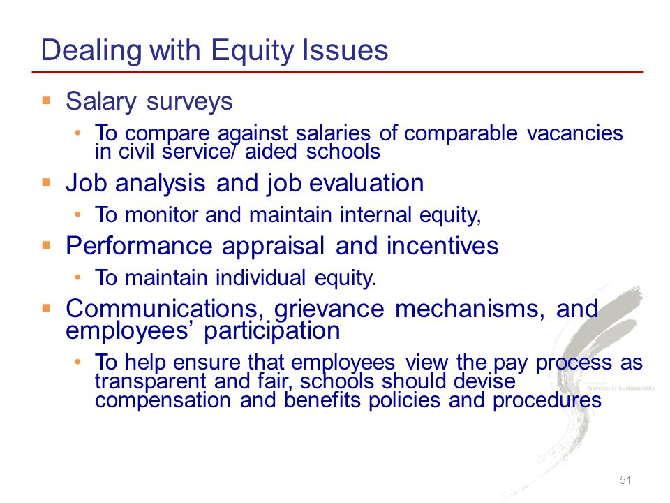 Dealing with Equity Issues