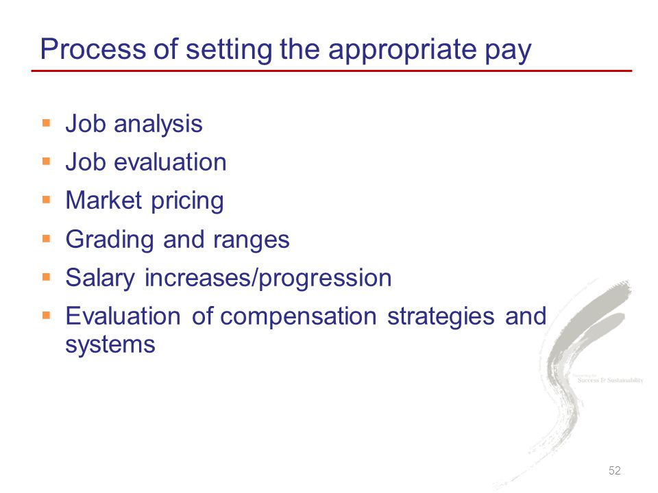 Process of setting the appropriate pay