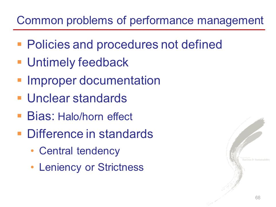 Policies and procedures not defined Untimely feedback