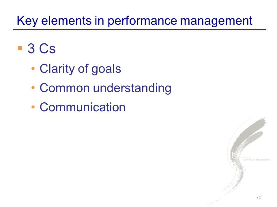 3 Cs Key elements in performance management Clarity of goals