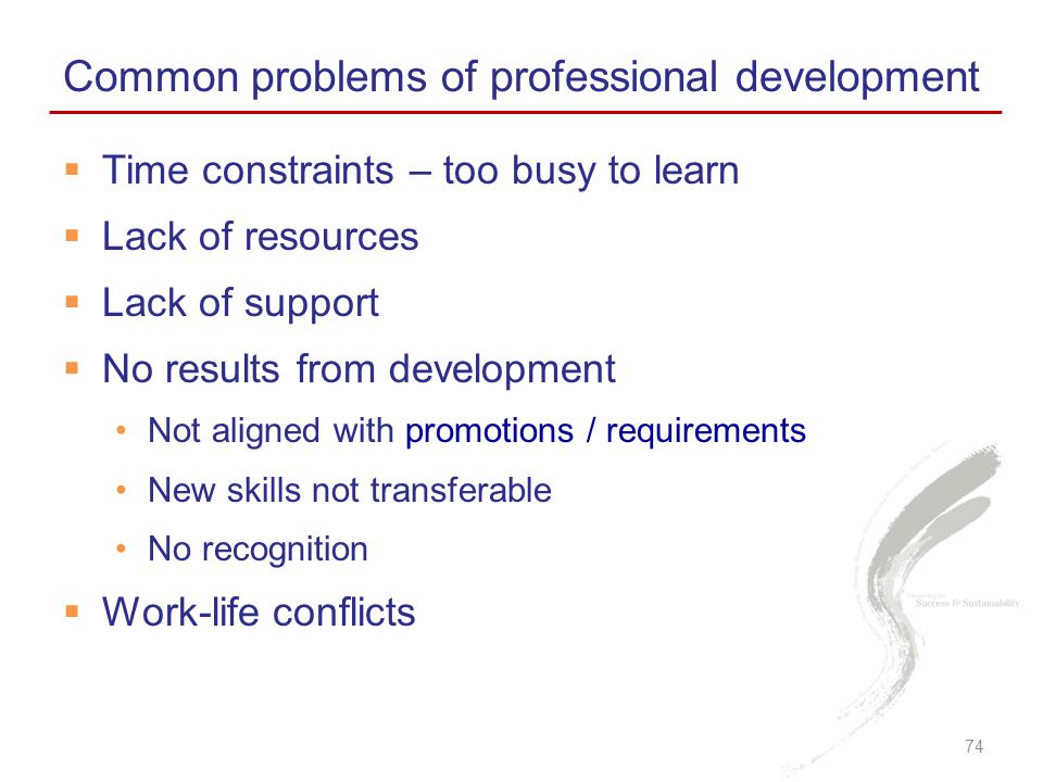 Common problems of professional development