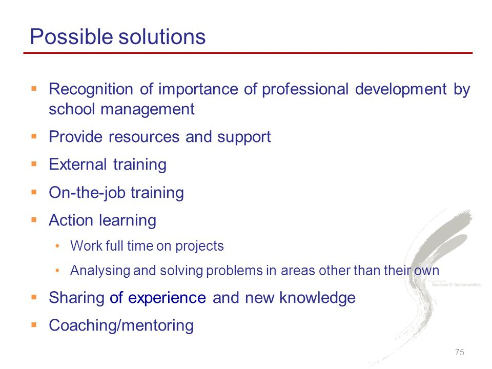Possible solutions Recognition of importance of professional development by school management. Provide resources and support.
