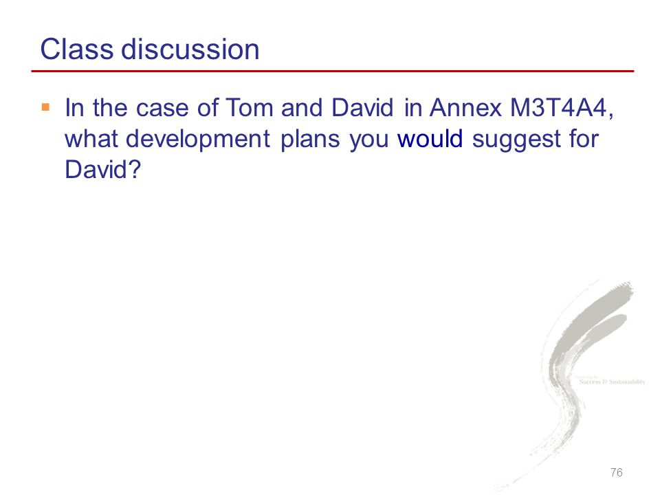 Class discussion In the case of Tom and David in Annex M3T4A4, what development plans you would suggest for David