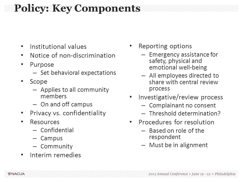 Policy: Key Components